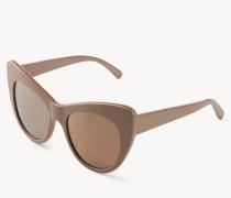 Cat-Eye Sonnenbrille mit Ketten-Verzierung Rosé