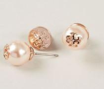 Perlen-Ohrrstecker mit Logo Roségold