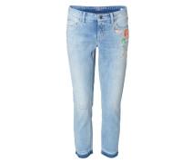 Skinny-Jeans 'Liu Short' mit Stickerein Hellblau