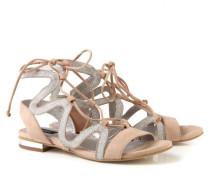 Verzierte Sandale mit Schnürelement Nude/Silber