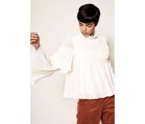 Bluse mit Volant-Details Weiß