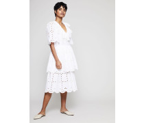 Baumwollkleid mit Lochspitze Weiß
