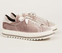 Samt-Sneaker mit Perlen-Deatails Rosé
