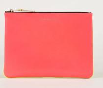 Leder-Clutch zweifarbig Fluo Pink/Gelb