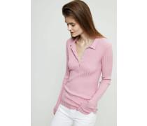Geripptes Poloshirt Pink