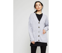 Oversize-Wollcardigan 'Lelou' Light Grey