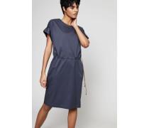 Baumwoll-Kleid mit seitlichem Tunnelzug Blau