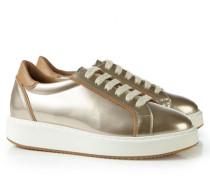 Glänzender Sneaker mit breiter Sohle Gold