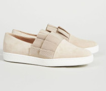 Velourleder-Slipper Beige
