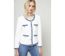 Kurzes Jäckchen mit Jeanselementen Weiß/Blau