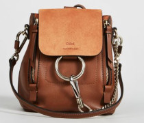 Rucksack 'Faye Backpack Mini' mit Veloursleder-Detail Tan