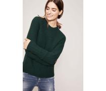 Woll-Cashmere-Pullover in Patentstrick mit Raglanärmel Grün
