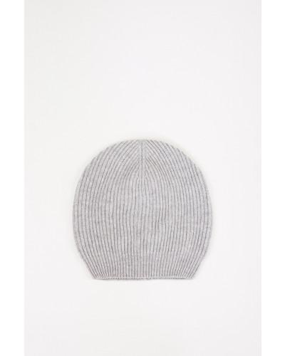 Woll-Seiden Strickmütze Hellgrau