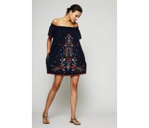 Kleid mit floraler Stickerei 'Embroidered Beach' Marineblau