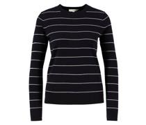 Woll-Cashmere Pullover Marineblau/Weiß