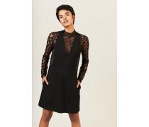 Woll-Kleid mit Spitze Schwarz
