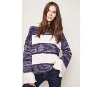 Cashmere-Pullover mit U-Boot-Ausschnitt Weiß/Blau