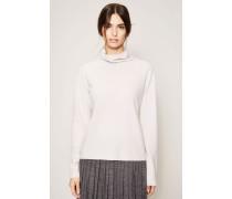 Leichter Rollkragen-Pullover mit Perlenstrick-Muster Hellgrau