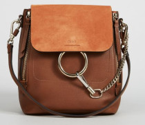 Rucksack 'Faye Backpack' mit Veloursleder-Detail Tan