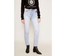 Jeans mit Used-Details Hellblau