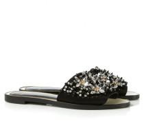Sandale mit Verzierten Riemen Schwarz