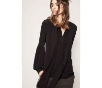 Schluppen-Bluse mit Puffärmel und Spitzen-Applikation Schwarz