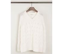 Cashmere-Pullover mit Zopfmuster Wollweiß