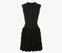 Kleid mit Zierstickereien Schwarz/Weiß