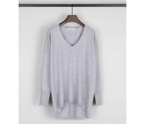 Cashmere V-Neck Pullover Grau Melange