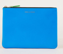 Leder-Clutch zweifarbig Fluo Blau/Orange