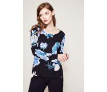 Seiden-Longsleeve 'Max' mit floralem Print Blau/Multi