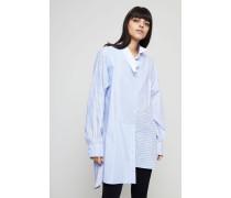 Oversized Hemdblusenkleid Blau/Multi