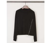 Kurzer Pullover mit seitlichem Reißverschluss Schwarz