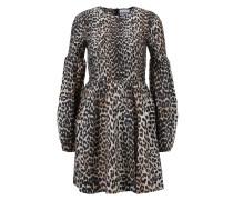 Baumwoll-Seiden-Kleid mit Leoprint