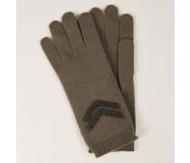 Cashmere-Handschuhe mit Perlen-Details Oliv
