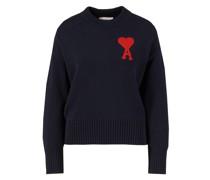 Woll-Pullover mit Logo-Stickerei Dunkelblau