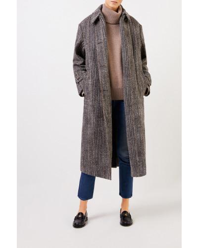 Langer Woll-Mantel mit Fischgrätmuster Multi