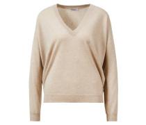 Cashmere-Pullover mit V-Neck und Monili Detail Beige