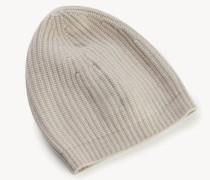 Woll-Mütze mit Rippstrickmuster Puder