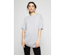 T-Shirt mit geschlitztem Saum 'Olga' Light Grey
