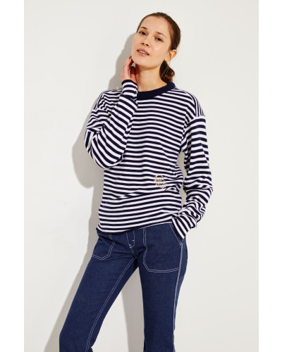Gestreifter Cashmere-Woll-Pullover Weiß/Blau