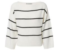 Weiter Cashmere-Pullover mit Streifen Weiß/Schwarz