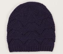 Cashmere-Mütze mit Strickmuster Marineblau