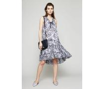 Semitransparentes Baumwoll-Seiden-Kleid Blau/Weiß