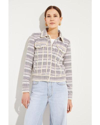 Tweed-Jacke mit Paillettendetails Multi
