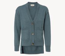 Woll-Cardigan mit verzierten Knöpfen Graublau