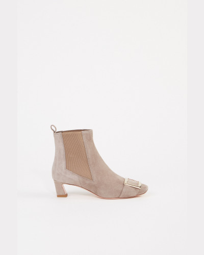 Veloursleder-Ankle Boots 'Trompette Chelsea' Taupe