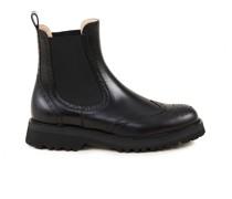 Glattleder-Chelsea Boots mit Lochverzierungen