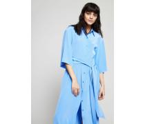 Langes Seiden-Kleid 'Hydra' mit Bindeelement Blau