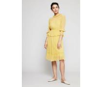 Semitransparentes Baumwoll-Seiden-Kleid Gelb